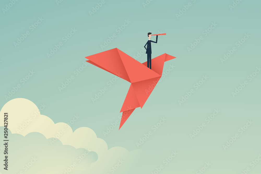 Fototapeta Minimalist stile. vector business finance. Successful vision concept with icon of businessman and telescope, Symbol leadership, strategy, mission, objectives
