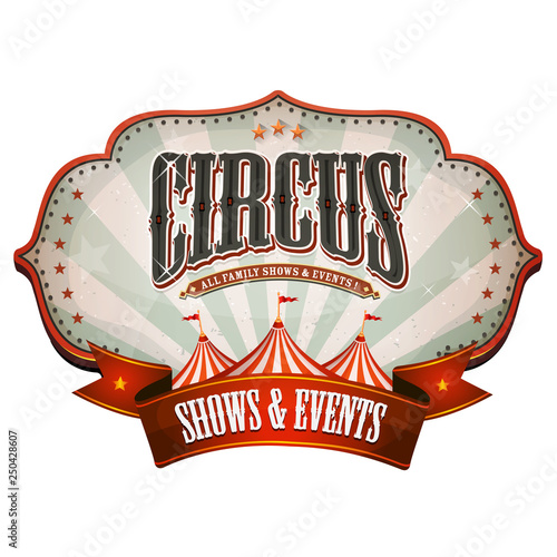 Obraz na plátně Carnival Circus Banner With Big Top/ Illustration of a retro and vintage circus
