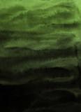 Zielone atramentu i akwareli tekstury na białego papieru tle. Wycieki farby i efekty ombre. Ręcznie malowane abstrakcyjny obraz. - 250430497