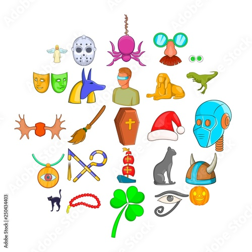 In de dag Fantasie Landschap Phantasy icons set. Cartoon set of 25 phantasy vector icons for web isolated on white background