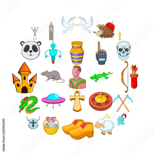 In de dag Fantasie Landschap Delusion icons set. Cartoon set of 25 delusion vector icons for web isolated on white background