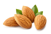 Close-up Of Almonds With Leave...