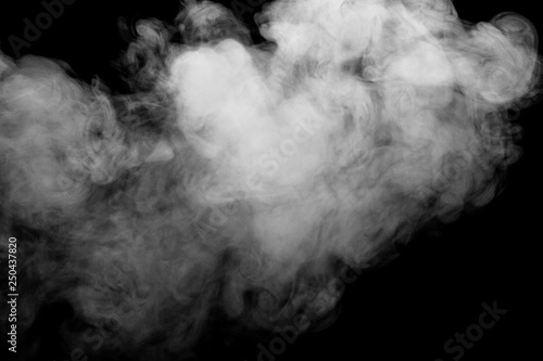 Poster Fumee white smoke isolated on black background, abstract powder, water spray, Add smoke effect