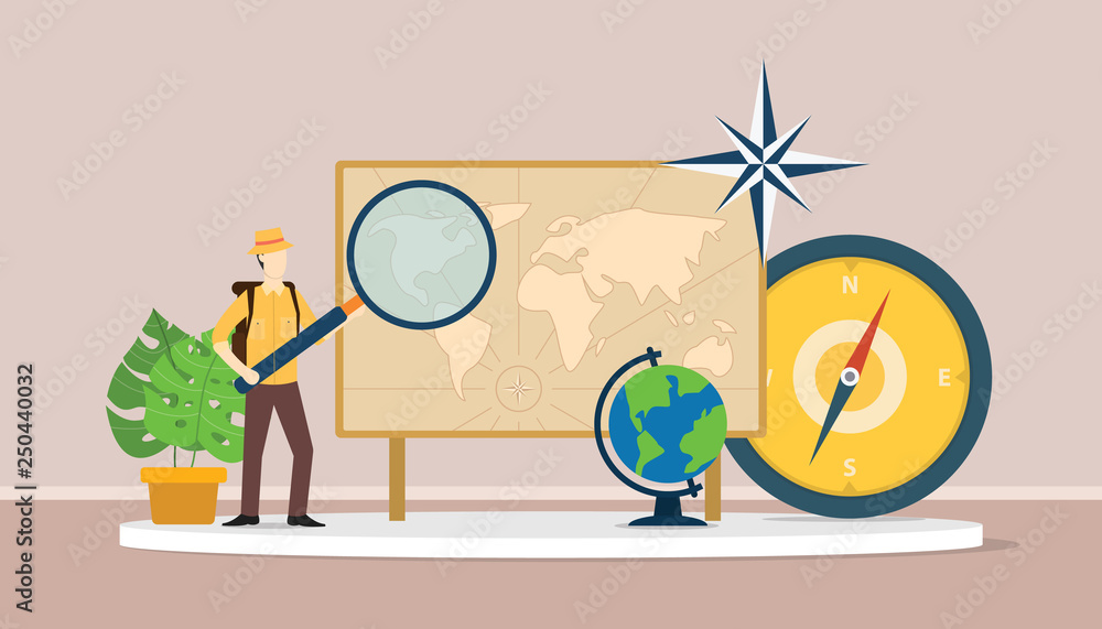 Fototapety, obrazy: learn geography concept with men explorer suit explain world maps
