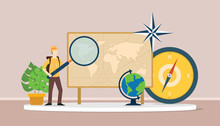 Learn Geography Concept With Men Explorer Suit Explain World Maps