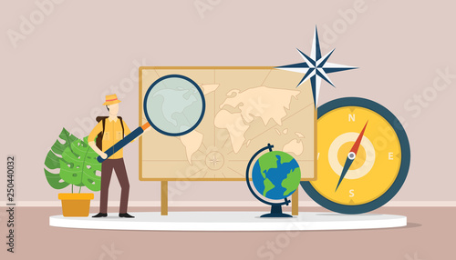 Fototapeta learn geography concept with men explorer suit explain world maps