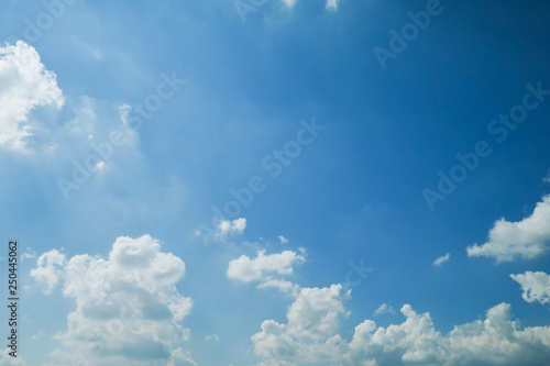 Aluminium Prints Heaven fluffy white cloud on clear blue sky
