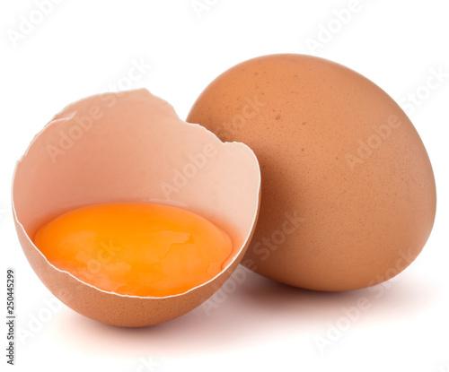 Broken Egg In Eggshell Half And Raw Egg Isolated On White