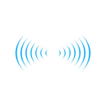 Wifi Sound Signal Connection In Two Dirrections, Sound Radio Wave Logo Symbol. Vector Illustration Isolated On Whitebackground.