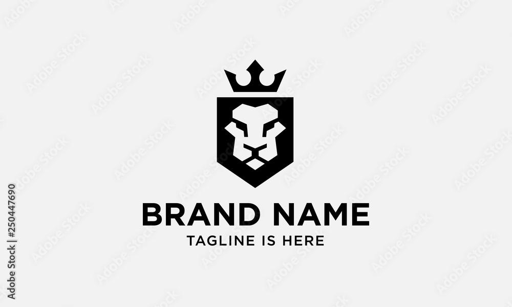 Fototapeta lion head logo design. lion king. lion face. elegant lion icon