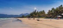 "Vietnam. May 3, 2015: Men Play Football On The Beach ""Doc Let""."