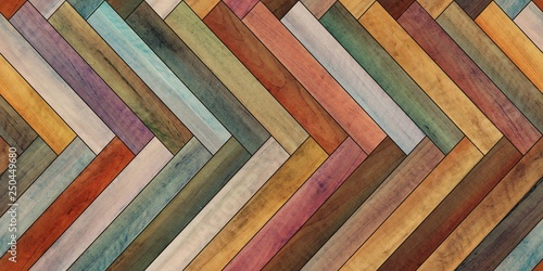 Fototapeten Künstlich Seamless wood parquet texture horizontal herringbone colorful