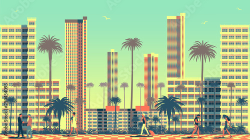 Canvas Print Summer cityscape with people in the foreground, Park, classic villa and modern s