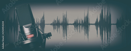Fototapety muzyka  retro-style-records-podcasts-concept-microphone