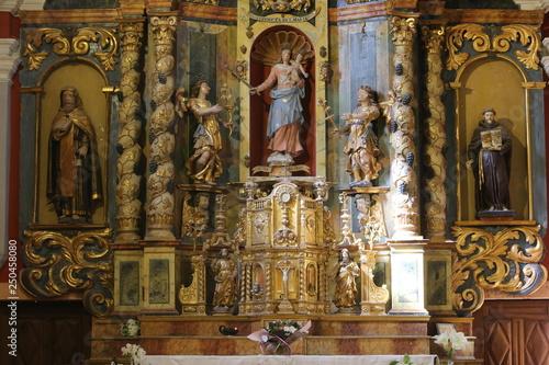 Le retable et ses statues latérales Canvas Print