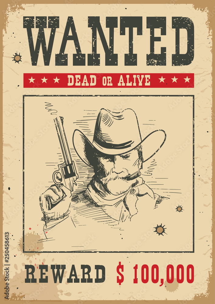 Fototapeta Wanted poster.Vector western illustration with bandit man and gun