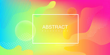 Colorful Spectrum Background With Frame And Abstract Pattern.