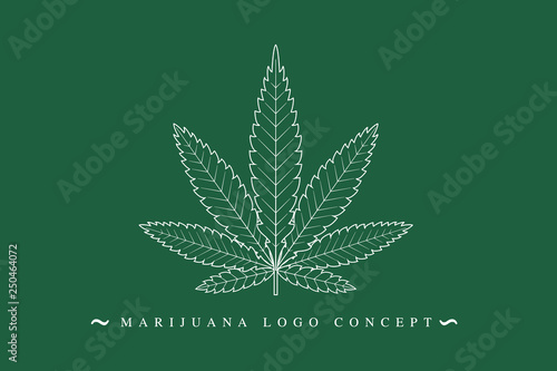 Fototapeta Cannabis marijuana hemp green leaf flat symbol or logo design. Cannabis green silhouette ecology logo. Hemp emblem for the logo design packaging of goods, food, for the creation of printed products. obraz
