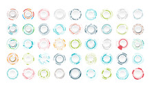 Set Of Abstract Technology Circle. Graphic Element Vector.
