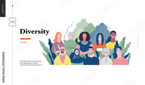 Fototapeta Technology 1 - Diversity - modern flat vector concept digital illustration of various people presenting person team diversity in the company. Creative landing web page design template obraz