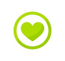 Green Heart Eco Icon.