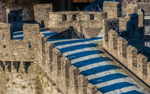 Castelgrande Castle (aka., Middle, Schwyz And St. Martin's Castle) Bellinzona, The Capital City Of Southern Switzerland's Ticino Canton. A Unesco World Heritage Site, Known For Its 3 Medieval Castles