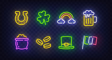 St. Patrick's Day Icon Set Isolated. Patrick's Day Neon Sign. Horseshoe, Clover, Rainbow, Gold Coin, Beer, Flag Ireland And Calendar Icon. Vector Illustration