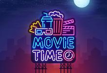 Night City. Sign Neon. Cinema Billboard. Bright Signboard, Light Banner. Cinema Logo. Vector Illustration.