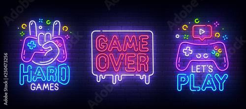 Big set neon sing. Game room label and logo. Gamer banner, emblem and label. Bright signboard, light banner. Vector illustration