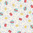 Retro abstract vector repeat pattern in geometric design style. Classic colors in red, yellow, blue with a cream background.