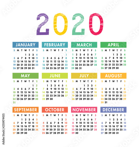 Calendar 2020 Year. Vector Pocket Or Wall Calender
