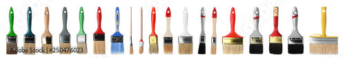 Obraz Set of different clean paint brushes on white background - fototapety do salonu