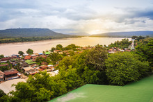 Beautiful Landscape View Of Border Village Nearby Mun River Mouth, The Point Where The Mun And Mekong Join In Khong Chiam District, The Easternmost District Of Ubon Ratchathani Province Of Thailand.