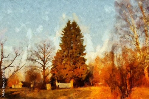 Wall Murals Vineyard Impressionism oil painting on canvas nature landscape motifs wall art print. Countryside beauty. Village. Contemporary artwork for creating poster, stationery, postcard. Watercolor fine modern drawing