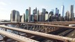 Manhattan skyline from Brooklyn bridge New York City