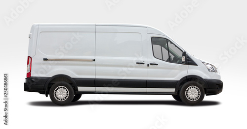 Leinwand Poster White van side view isolated on white
