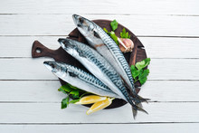 Mackerel On A White Wooden Background. Raw Fish Top View. Free Copy Space.