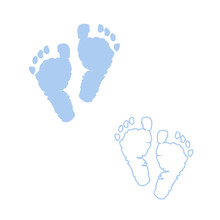 Baby Foot Prints. Blue Colored...