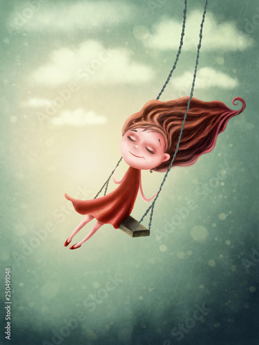 Fotografie, Tablou Illustration of a little fairygirl