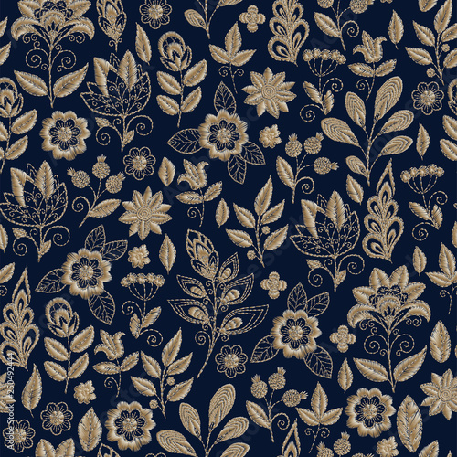 Embroidery seamless pattern with beautiful flowers Canvas Print