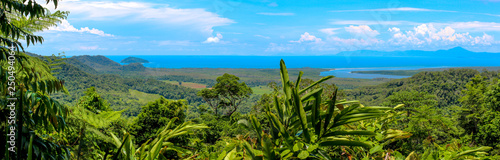 Photo panoramic view over the australian rainforest with river and coastline, cairns a