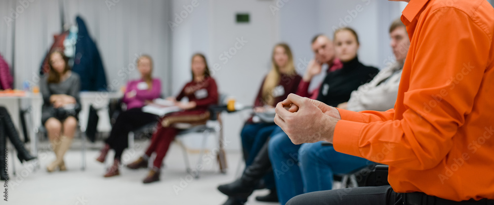 Fototapety, obrazy: Lecturer conducts a lecture, training.