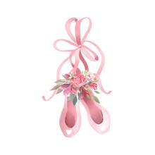 Cute Pink Watercolor Ballet Sh...