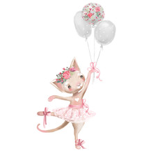 Cute Ballerina, Ballet Girl Baby Kitten, Cat With Flowers, Floral Wreath In A Ballet Dress With Balloons