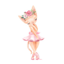 Cute Ballerina, Ballet Girl Baby Kitten, Cat With Flowers, Floral Wreath In A Ballet Dress