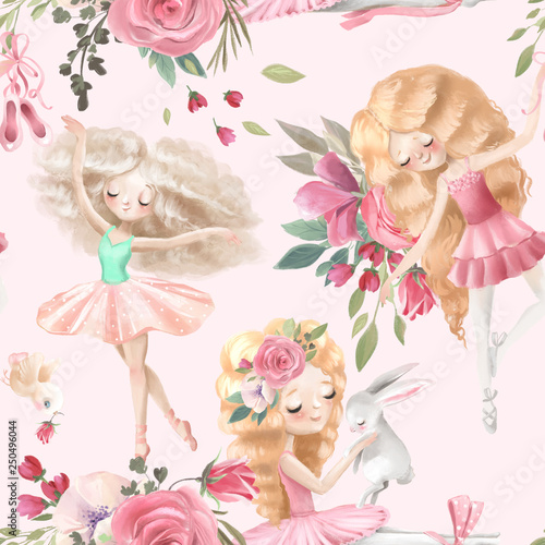 Obraz na plátně  Beautiful, seamless, tileable pattern with watercolor ballerinas, ballet girls a