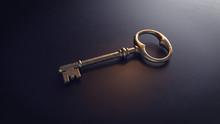 Old Metal Key On A Black Background. 3d Illustration