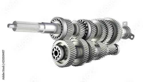 Fényképezés Automotive transmission gearbox Gears inside on white background 3d render witho