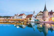 Scenic Historic City Center Of Lucerne With Famous Buildings And Lake Lucerne (Vierwaldstattersee), Canton Of Lucerne, Switzerland