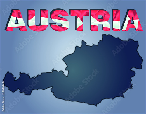 Fotografía  The contours of territory of Austria and Austria word in the colors of the natio